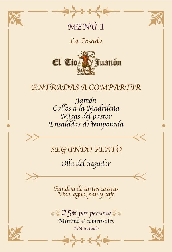 Menu Olla del Segador Navalcarnero Madrid