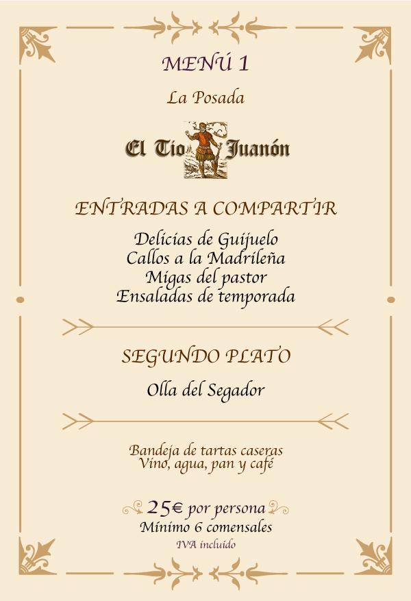 Menú 1 Posada El Tio Juanon